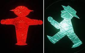 Germans do not cross the street against the light.